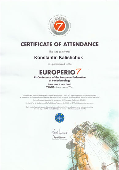 7-th Conference of the European Federation of Periodontology, Vienna, Austria'12